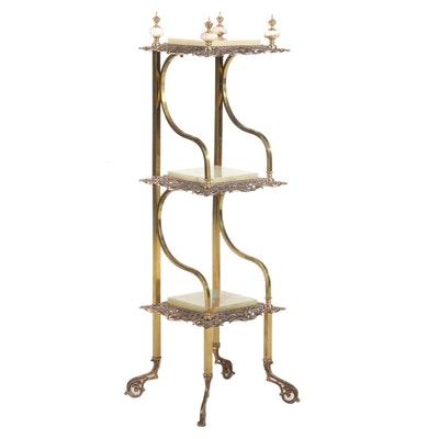 Rococo Revival Gilt Brass and Onyx Three-Tier Étagère, Late 19th/Early 20th C.