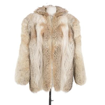 Coyote Fur Coat with Hood