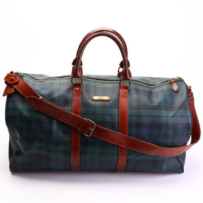 Polo Ralph Lauren Large Weekender in Blackwatch Coated Canvas and Leather