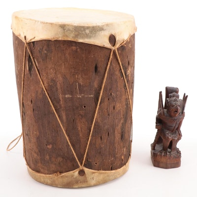 Stretched Hide Drum with Southeast Asian Hand-Carved Garuda Figurine