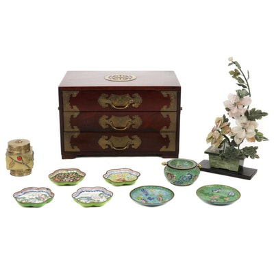 Chinese Stone and Glass Miniature Tree Figurine, Jewelry Box, Cloisonné Dishes