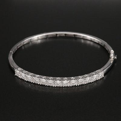 14K 1.14 CTW Diamond Hinged Bangle