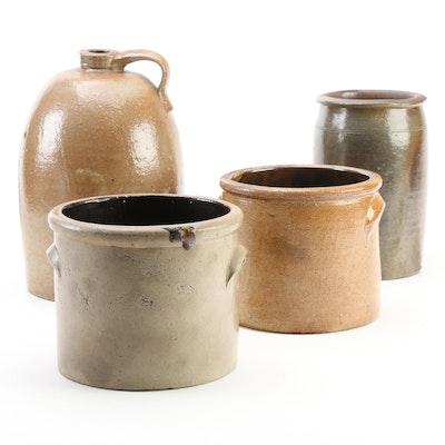 Primitive Salt Glazed Stoneware Crocks and Jug