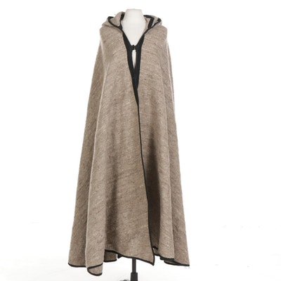Handwoven Wool Full-Length Hooded Cloak, 20th Century