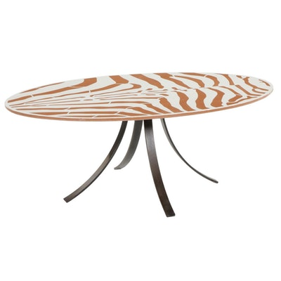 910 Castings Contemporary Zebra Print Concrete Table with Black Steel Base