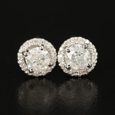 14K Diamond Halo Stud Earrings