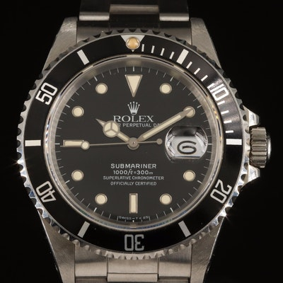 1989 Rolex Oyster Perpetual Submariner Model 16610 Wristwatch