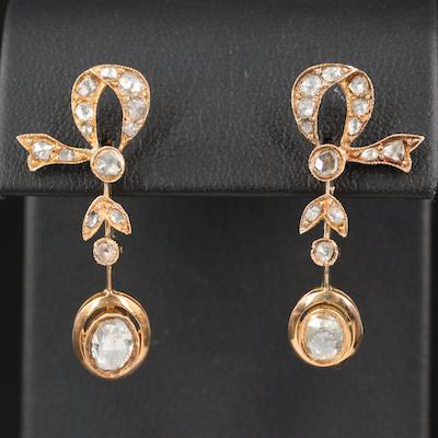 Victorian Style 14K 1.60 CTW Diamond Drop Earrings