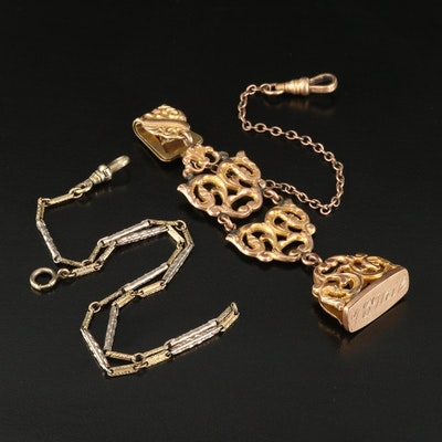 Vintage Watch Chains Including 1920s Bates & Bacon Fob and Chain