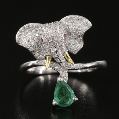 Sterling Emerald and Cubic Zirconia Elephant Ring