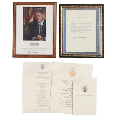 President Bill Clinton Inaugural Invitation and More