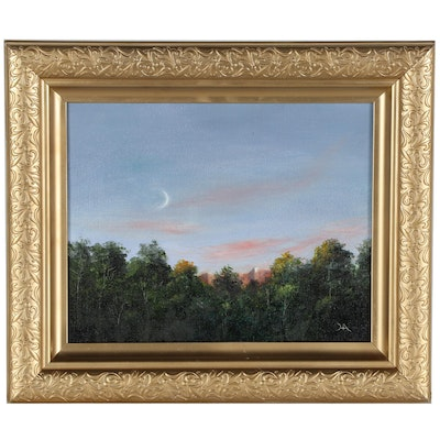 """Houra H. Alghizzi Landscape Oil Painting """"New Moon"""""""