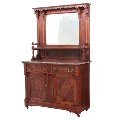 Victorian Walnut, Burl Walnut, and Rouge Marble Mirror-Back Sideboard