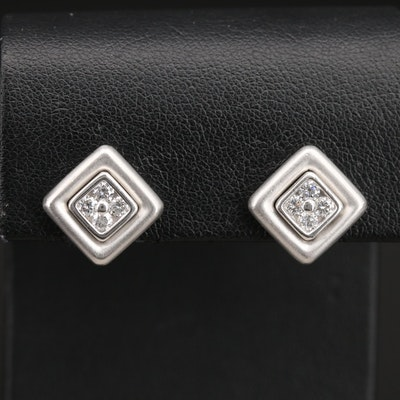 Scott Kay Platinum 0.48 CTW Diamond Cluster Earrings with Matte Finish Accents