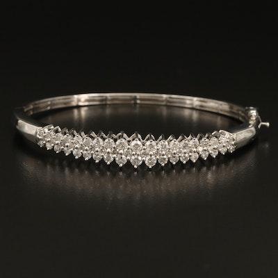 14K 2.23 CTW Diamond Hinged Bangle