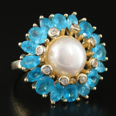 Sterling Pearl, Apatite and Cubic Zirconia Flower Ring