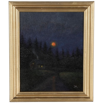"""Houra H. Alghizzi Landscape Oil Painting """"Moonrise Over The Cabin"""""""