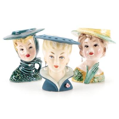Lefton and Relpo Ceramic Lady Head Vases, Mid-20th Century