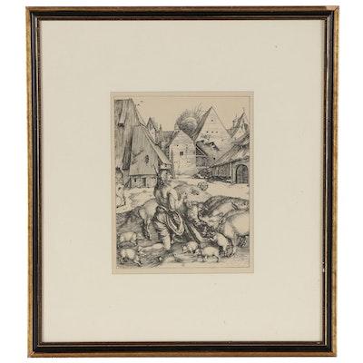 "Lithograph After Albrecht Dürer ""The Prodigal Son Amid the Swine"""