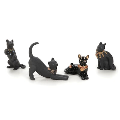 """Lenox """"Cat Goddess of the Sun and the Moon"""" and Other Black Cat Figurines"""