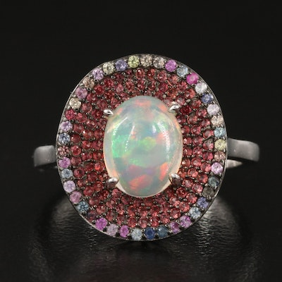 Sterling Opal and Pavé Sapphire Halo Ring