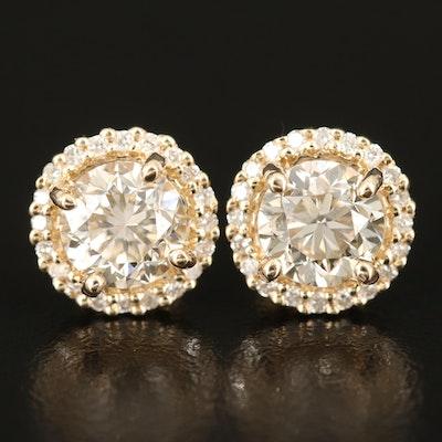 14K Diamond Stud Earrings with 3.06 CTW Center Diamonds