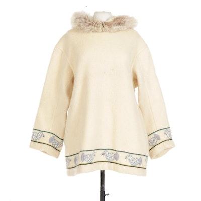 Handmade Alaskan Wool Parka with Fox Fur Trim Hood and Embroidery, Vintage