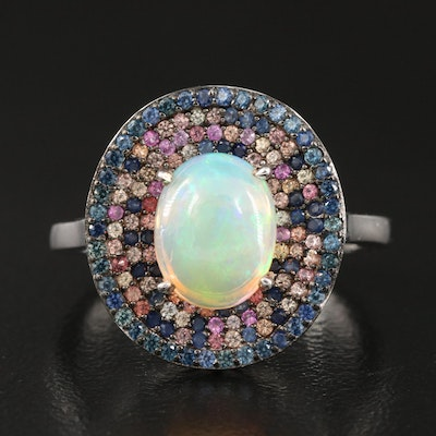 Sterling Silver Opal and Pavé Sapphire Halo Ring