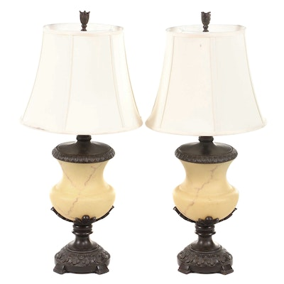 Pair of Marbleized Satin Glass Urn and Metal Lamps