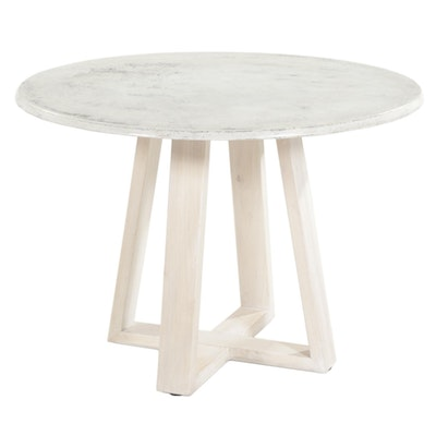 910 Castings Round Dining Table with Cast Concrete Top and Stained Poplar Base