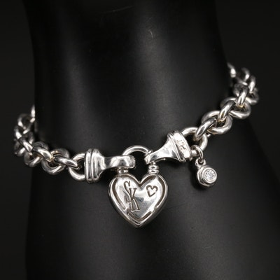 Scott Kay Bracelet with Heart Closure and 0.10 CTW Diamond Accents