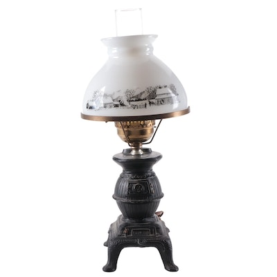 Cast Metal Potbelly Stove Table Lamp with Currier & Ives Milk Glass Shade