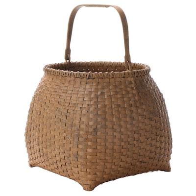 Painted Splint Woven Handled Basket