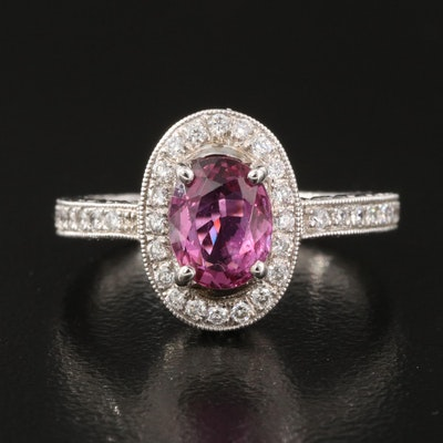 18K Gold 1.38 Pink Sapphire and Diamond Ring