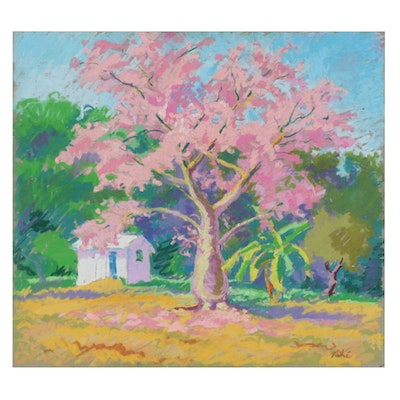 Landscape Pastel Drawing of a Blooming Tree, Late 20th Century
