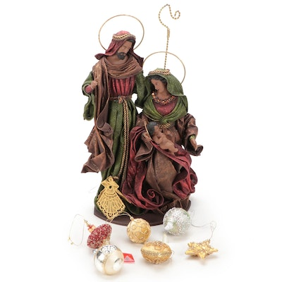 Handcrafted Holy Family Figurine with Christmas Ornaments