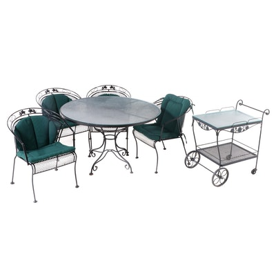 Scroll Base Iron Patio Dining Table with Four Metal Mesh Chairs and Bar Cart