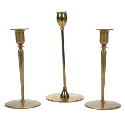 Arts and Crafts Jarvie Style Brass Candlesticks