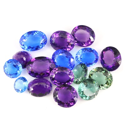 Loose Round and Oval Faceted Quartz and Amethysts