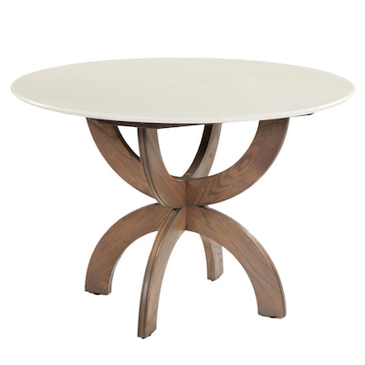 910 Castings Dining Table with Cast Cream Colored Concrete on a Stained Ash Base