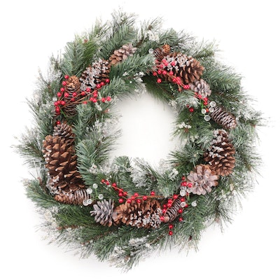 Pinecone and Red Berry Christmas Wreath