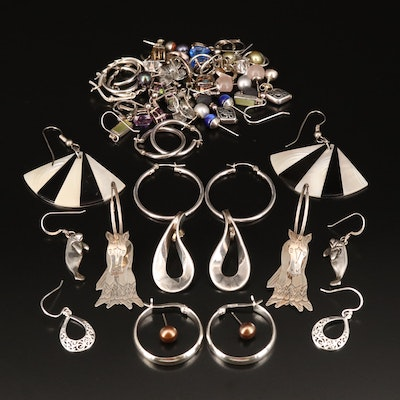 Sterling Earring Grouping Including Pearl, Sapphire and Mystic Quartz