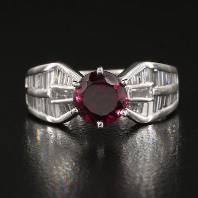 Platinum Rhodolite Garnet and 1.01 CTW Diamond Ring
