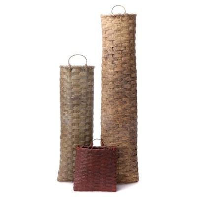 Woven Wicker Handled Wall Vertical Baskets