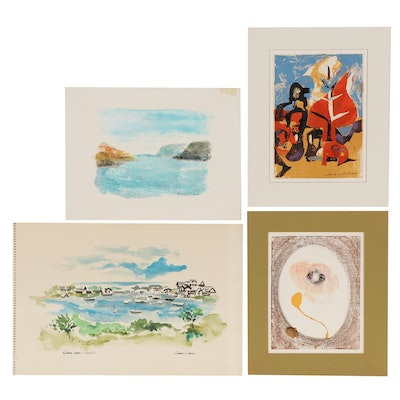 Lawrence H. Darrow Abstract Watercolor Paintings, Mid-20th Century