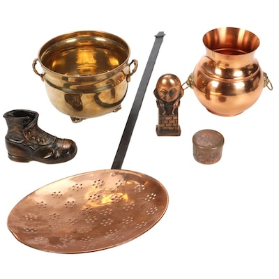 Copper Coal Sifter, Humpty Dumpty Bank, and Cuspidor and Other Metal Decor