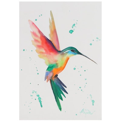 """Anne """"Angor"""" Gorywine Watercolor Painting of a Hummingbird"""