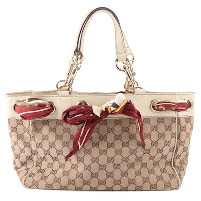 Gucci Positano Tote Bag in GG Canvas and Leather with Tied Scarf