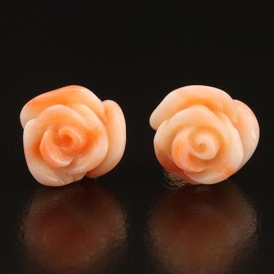 14K Carved Coral Flower Stud Earrings