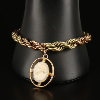 10K Shell Cameo Conveter Brooch on Gold Filled Braided Bracelet